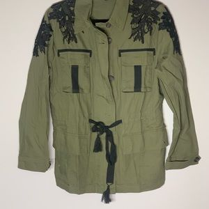 NWT Wendy Williams Military Green Jacket Floral M